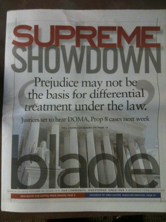 Front Cover of the Washington Blade with 'Supreme Showdown' as the main article